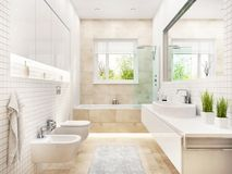 Modern white bathroom with bath and window. Modern white bathroom with window royalty free stock images