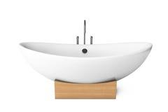 Modern white bathtube. On a white background stock photo