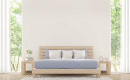 Modern white bed room with pastel furniture 3d rendering image. There are window overlooking the surrounding nature and forest Royalty Free Stock Photo