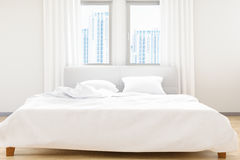 The modern of white bedroom bed sheets and pillows ,comfort and bedding concept, 3D illustration. 3D render image Stock Photos