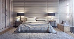 Modern white bedroom design with bathroom. 3D Rendering royalty free illustration