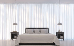 Modern white bedroom minimal style 3D rendering Image Royalty Free Stock Photos
