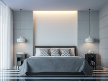 Modern white bedroom minimal style 3D rendering Image. There white empty wall.Decorate room with black grey white color and  hidden light on wall Stock Photo