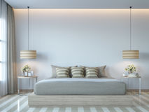 Modern white bedroom minimal style 3D rendering Image. There white empty wall.Decorate room with light tone color and hidden light on ceiling Stock Images