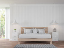 Modern white bedroom vintage Style 3d rendering image Stock Photo