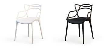 Modern white and black chairs. 3d render stock illustration