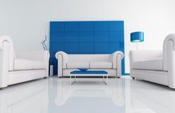 Modern white and blu living room Stock Photo