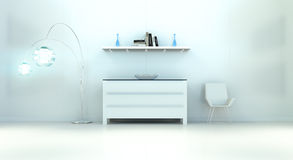 Modern white blue interior with chest of drawers and shelve 3D r. Modern white blue interior with chest of drawers shelve light and chair 3D rendering Royalty Free Stock Photography