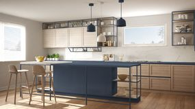 Modern white and blue kitchen with wooden details and parquet floor, modern pendant lamps, minimalistic interior design concept. Idea, island with stools and stock image