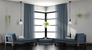 Modern white and blue lounge Stock Photo