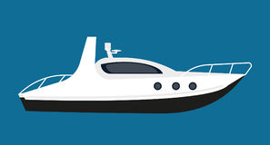Modern white boat for short distance cruises isolated illustration Royalty Free Stock Photography