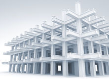 Modern white braced construction. 3d abstract architecture light blue monochrome background. Modern white braced construction royalty free illustration