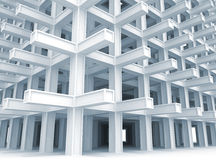 Modern white braced construction. 3d abstract architecture monochrome background. Modern white braced construction vector illustration