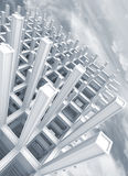 Modern white braced construction above sky. 3d abstract architecture blue monochrome background. Modern white braced construction above cloudy sky royalty free illustration