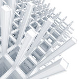 Modern white braced construction above white. 3d architecture light blue monochrome abstract. Modern white braced construction above white stock illustration