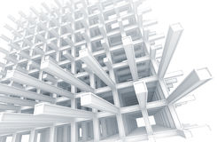 Modern white braced construction on white Royalty Free Stock Images