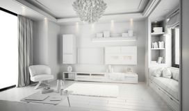Modern white bright interior with sofa and lamp. 3d illustration stock photo