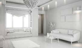 Modern white bright interior with sofa and lamp. 3d illustration stock images