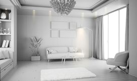Modern white bright interior with sofa and lamp. 3d illustration royalty free stock image