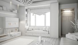 Modern white bright interior with sofa and lamp. 3d illustration stock photos