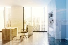 Modern white CEO office, side view toned. Modern white CEO office interior with a white and wooden table, a computer and a bookcase near a panoramic window. A Stock Images