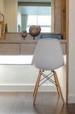 Modern white chair with dressing table Royalty Free Stock Photography