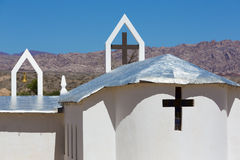 Modern white church with mountains and aluminium roof, Argentina Royalty Free Stock Photo