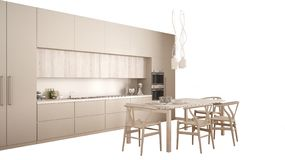 Modern white and cream kitchen with dining table, interior design concept idea, isolated on blank background with copy space,. Minimalist furniture stock photos
