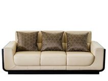 Modern white cream leather sofa Stock Images
