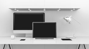 Modern white desk interior with computer and devices 3D renderin Stock Photos