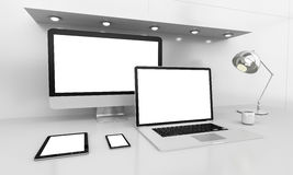 Modern white desk interior with computer and devices 3D renderin Royalty Free Stock Photography