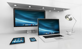 Modern white desk interior with computer and devices 3D renderin Stock Photography