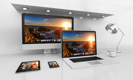 Modern white desk interior with computer and devices 3D renderin Stock Photo