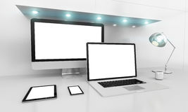 Modern white desk interior with computer and devices 3D renderin Stock Images