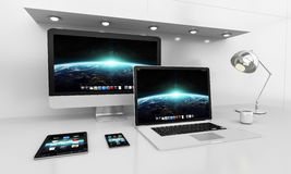 Modern white desk interior with computer and devices 3D renderin Royalty Free Stock Photo