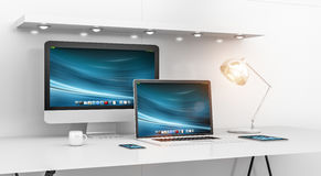 Modern white desk interior with computer and devices 3D renderin Royalty Free Stock Photos