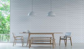 Modern white dining room decorate wall with brick pattern 3d rendering image. Modern white dining room Decorate Wall With white Brick 3D Rendering Image royalty free illustration