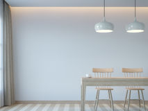 Modern white dining room minimal style 3D rendering Image. There white empty wall.Decorate room with light tone color and hidden light on ceiling Royalty Free Stock Images