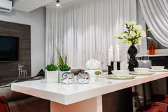 Modern white dining set in luxury dining room Royalty Free Stock Photography