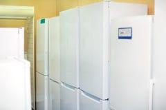 Modern white domestic refrigerators Stock Image