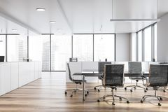 Modern white empty office interior with board table. 3D render vector illustration