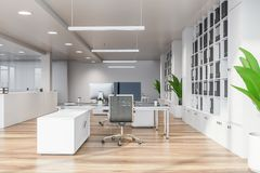 Modern white empty office interior with dinning space. 3D render. City view royalty free illustration