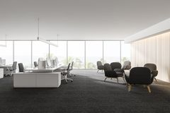 Modern white empty office interior with work space computers and furniture. 3D render royalty free illustration