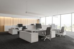 Modern white empty office interior with work space computers and furniture. 3D render vector illustration