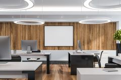 Modern white empty office interior with work space. 3D render. Mock up royalty free illustration