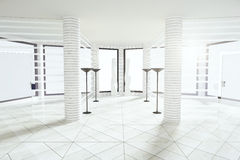Modern white empty room with pillars and big windows Stock Photography