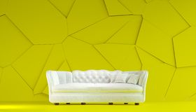 Modern white fabric sofa chesterfield style in lemon yellow room interior with structured cracked wall. 3d render stock illustration