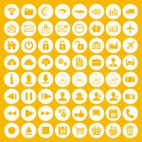 Modern white flat icon set of web, multimedia and business icons. On a yellow background Royalty Free Stock Images