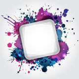 Modern white frame with blue blots Royalty Free Stock Photography