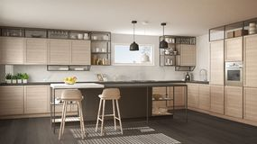 Modern white and gray kitchen with wooden details and parquet floor, modern pendant lamps, minimalistic interior design concept. Idea, island with stools and vector illustration
